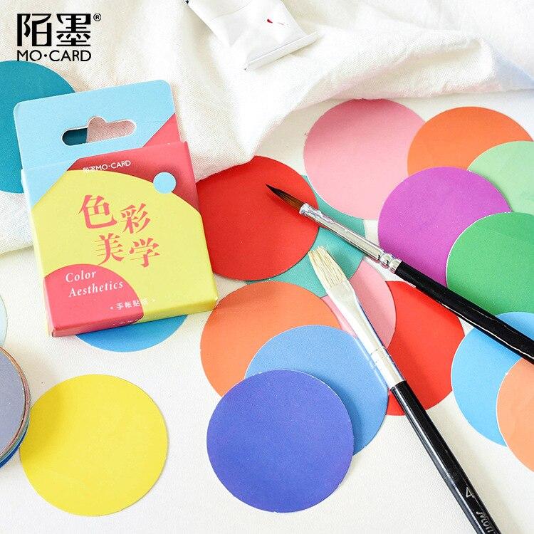 46pcs/pack Color Arts Adhesive Sticker Set Decorative Stationery Stickers Scrapbooking Diy Diary Album Stick Label