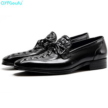 2019 Genuine Cow Leather Slip On Men Dress Shoes Fashion Retro Comfortable Crocodile Skin Business Casual