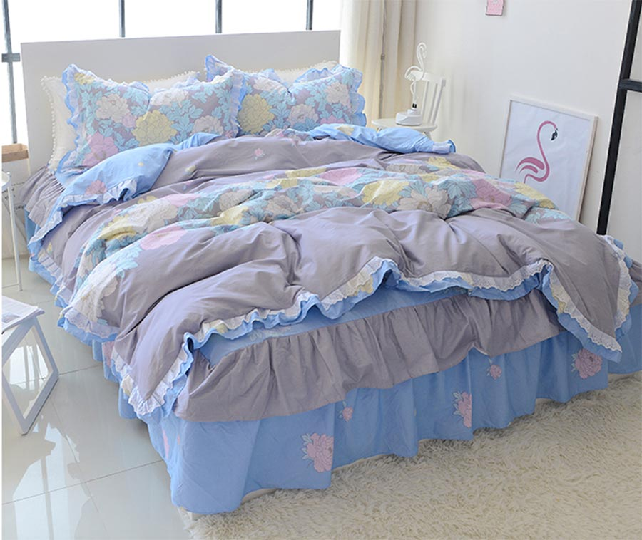 Sweet blue floral single double cotton bedding set teen girl,twin full queen king home textile bed skirt duvet cover pillowcase