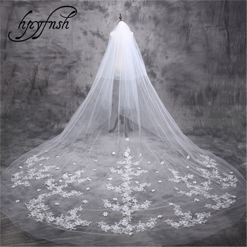 2019 New Two Layers Sequins Lace Edge 5m long Veil With Comb 2 Layers flowesTulle Bridal