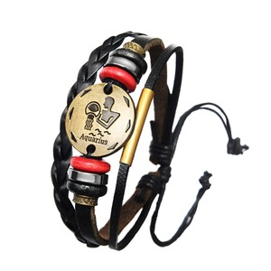 Free Shipping 12 Constellations Leather Bracelet Men Zodiac Signs Aries Libra Scorpio Multilayer Adjustable Rope Jewelry Women