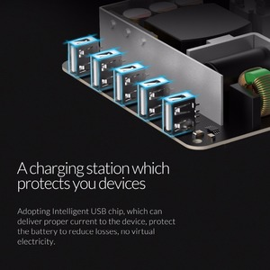 Image 5 - ORICO 5 Port USB Charger Station Dock with Phone Holder 5V2.4A*5 40W Max For Xiaomi Huawei iPhone and Tablet PC