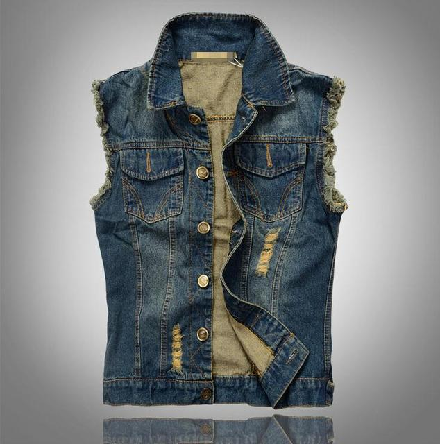Big size 6XL Denim Vest Men Vests Brand Coats  Men's Cowboy Waistcoat Brand Man Sleeveless Jacket Clothing