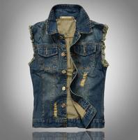 Big size 6XL Denim Vest Men Vests Brand Coats Men's Cowboy Waistcoat Brand Man Sleeveless Jacket Clothing