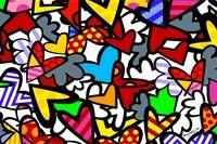 Custom Canvas Romero Britto Paintings Poster Kids Wallpaper RB Hearts Sticker Romero Britto Art Wall Stickers