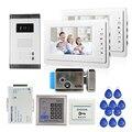 """ENVÍO LIBRE 7 """"Sistema de Videoportero De Intercomunicación 2 Monitor 1 Cámara Del Timbre Blanco para 2 Hogares de Acceso RFID + + E-bloqueo"""