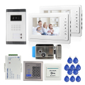 "FREE SHIPPING 7"" Video Intercom Door Phone System 2 White Monitor 1 Doorbell Camera for 2 Household + RFID Access + E-Lock"