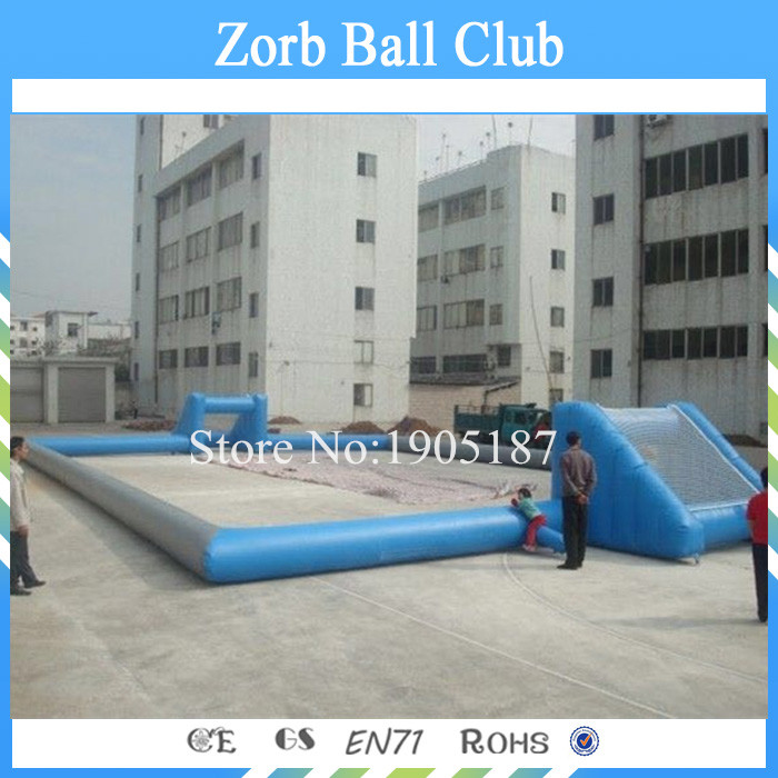 Free Shipping 0.55mm PVC Inflatable Soccer Field Inflatable Football Field For Sale free shipping juegos inflables 16x8 meters inflatable soccer field football court with pvc material for kids