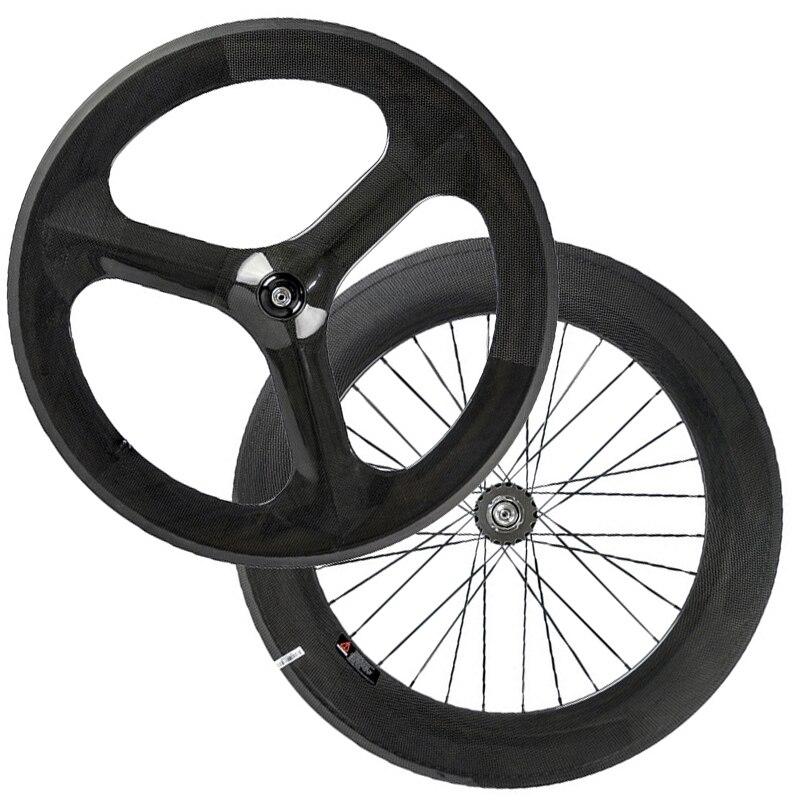 Цена за Китайский углерода колеса передние 3 говорил задние колеса 88 мм углерода колесная для дорожного велосипеда три говорил колесо