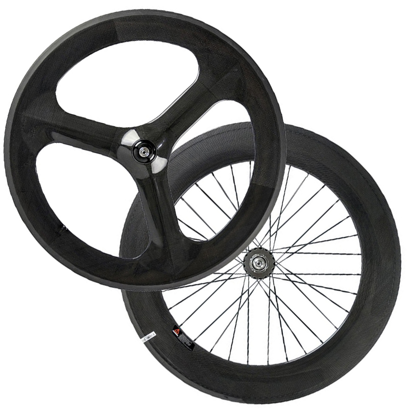 Chinese carbon wheels front 3 spoke wheel rear 88mm carbon wheelset for road bicycle tri spoke wheel