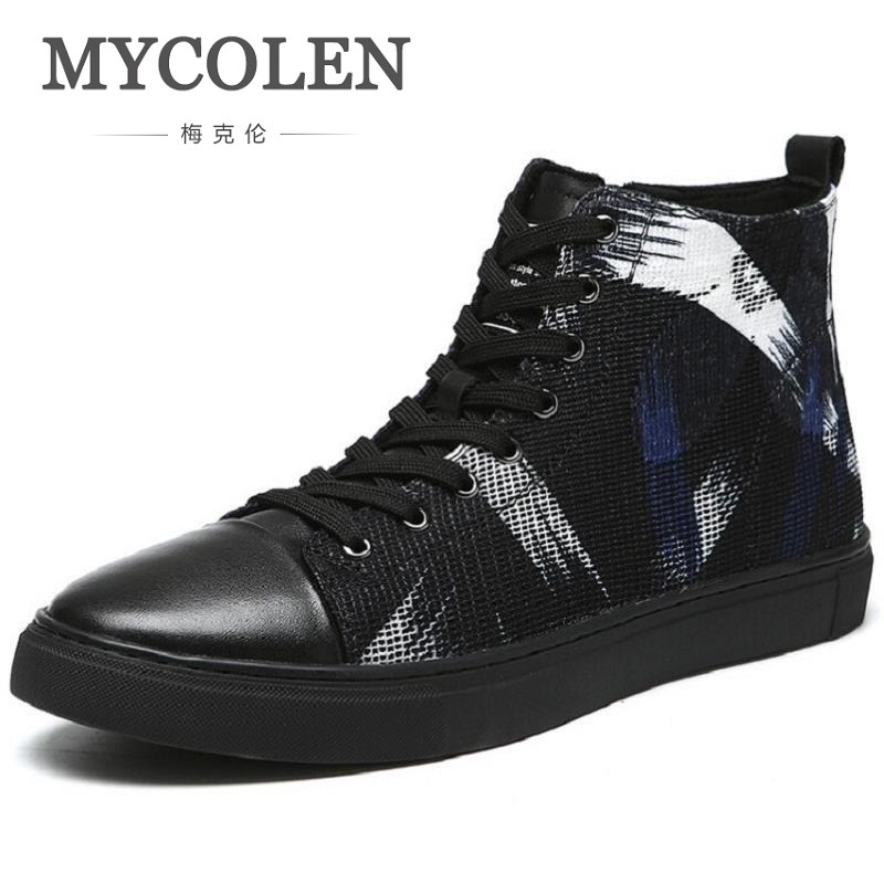 MYCOLEN Brand Mens Shoes Fashion Handmade Basic Boots Canvas Boots Casual Lace-Up Ankle Print Boots High-Top Botte Homme 2016 luxury brand mens high top flats shoes vintage full leather lace up ankle boots tialian handmade elegant mens formal shoes