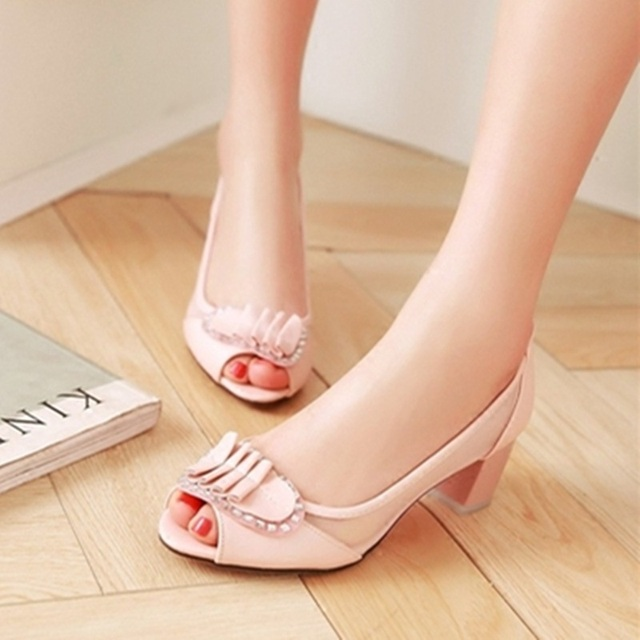 Lady's Plus size(4-12) Peep toe Patent leather Pleated Mesh Bow Square Thick high heels women pumps summer style Pink/Blue/White