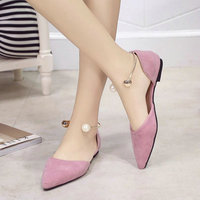 2018 Women Nubuck Leather Pointed Toe Shoes Fashion Breathable Shallow Sweet Pearl Shoes Women Casual Girls