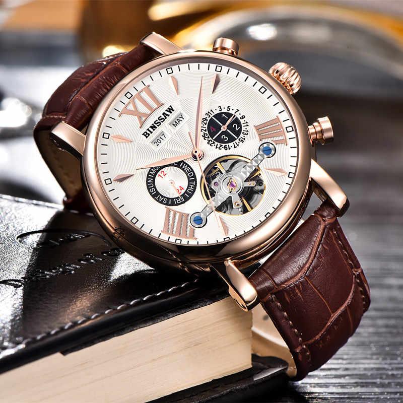 9f5c64216 ... Binssaw Men Automatic Mechanical Watch Sports Luxury Brand Watch Men  Tourbillon New Fashion Sports Leather Man ...