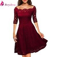 Berydress Elegant Womens Wedding Party Off The Shoulder Half Sleeve Stretchy Short Floral Lace Dress 2017