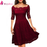 Berydress Elegant Womens Wedding Party Off The Shoulder Half Sleeve Stretchy Short Floral Lace Dress 2017