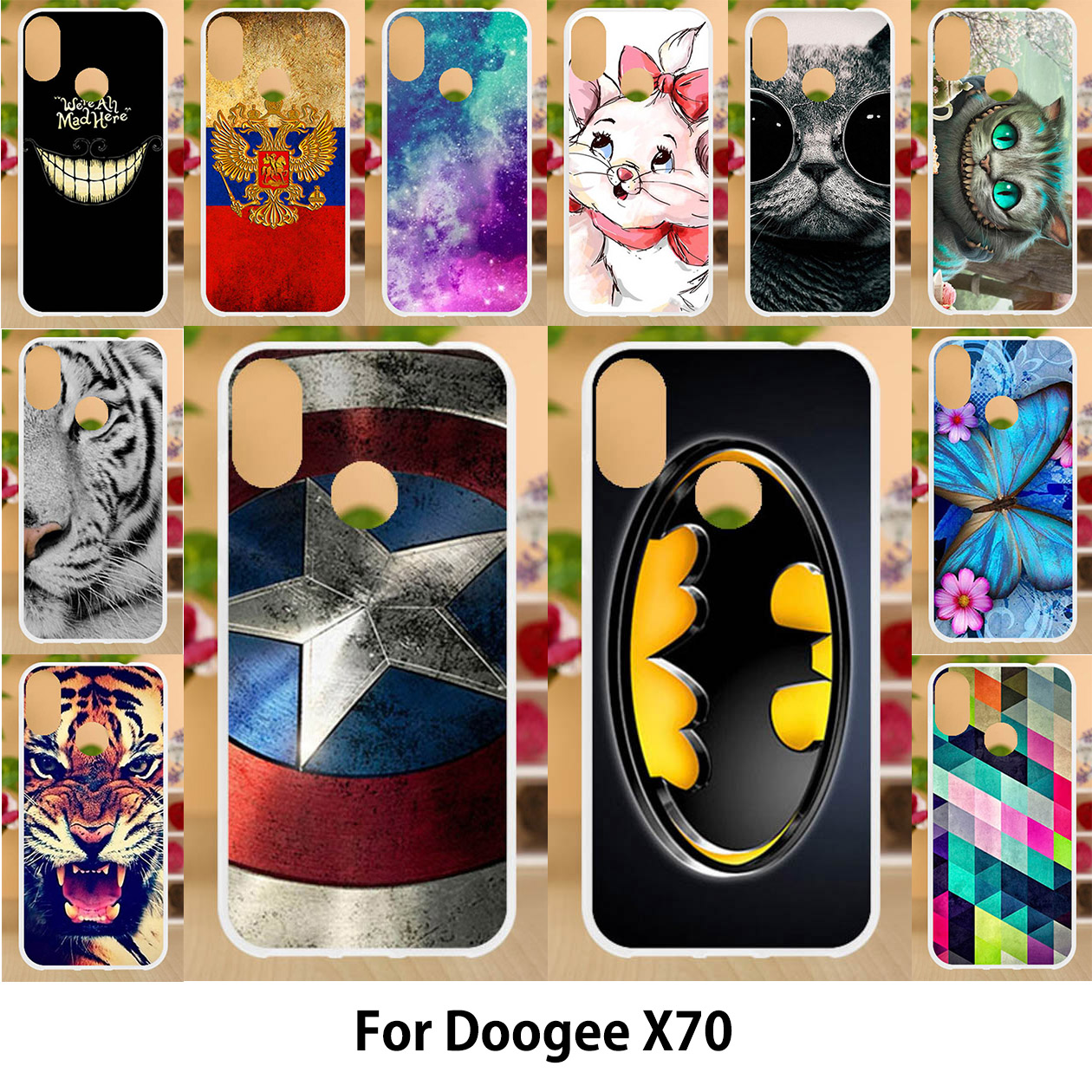 Anunob <font><b>Case</b></font> For Coque <font><b>Doogee</b></font> <font><b>X70</b></font> <font><b>Cases</b></font> TPU Soft <font><b>Silicone</b></font> 5.5 inch Cover For <font><b>Doogee</b></font> <font><b>X70</b></font> Covers Painting Animal Shell Back Bags image