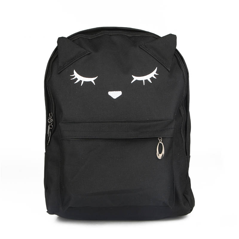 Cute Cartoon Embroidery Cat Backpack Canvas Backpacks For Teenage Girls Korean Style Casual Sac Mochila XJ601