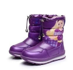 Новинка 2018 года; зимние ботинки для девочек; детская зимняя обувь; войлочная резиновая обувь; водонепроницаемые теплые плюшевые зимние