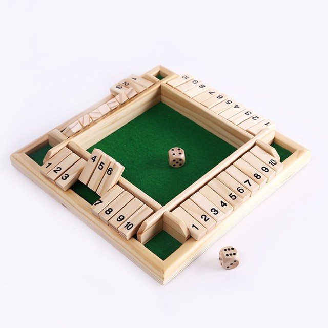 New Shut The Box Game Wooden Board Number Drinking Dice Toy Family Classy Wooden Baseball Game Toy