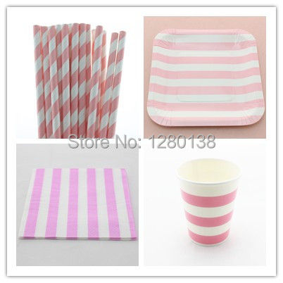 Disposable 5 Color Wedding Supplies Stripe Paper Plates Paper Cups Party Tableware Set Striped & Disposable 5 Color Wedding Supplies Stripe Paper Plates Paper Cups ...