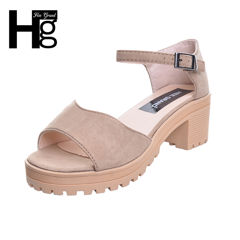 HEE GRAND Summer Woman Sandals 2017 Solid High Heels Buckle Fashion Platform Wedge Shoes Woman XWZ4406 hee grand casual wedges sandals 2017 summer beach women shoes platform buckle comfort creepers fashion shoes woman xwz3812