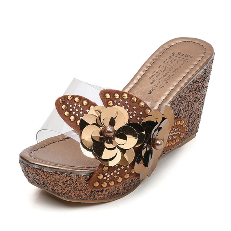 HEEGRAND Woman Platform Heels Slides Sequin Wedge Slippers High Ladies Shoe Wedges Slippers Butterfly-knot Summer Shoes XWT1815HEEGRAND Woman Platform Heels Slides Sequin Wedge Slippers High Ladies Shoe Wedges Slippers Butterfly-knot Summer Shoes XWT1815