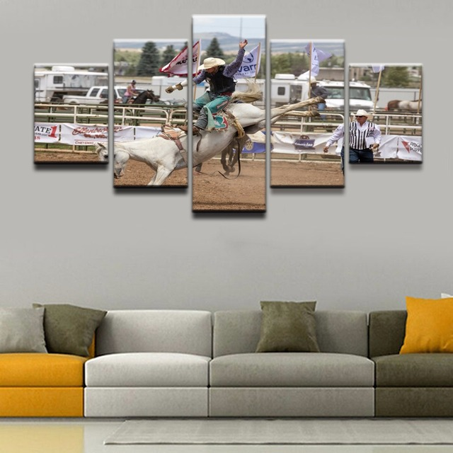 Poster hd printed canvas painting framework home decor 5 pieces poster hd printed canvas painting framework home decor 5 pieces cowboy horse rodeo sport wall art teraionfo