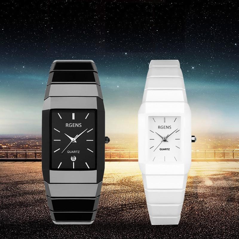mens womens Ceramic wrist watches black white quartz square couple male female clocks waterproof casual business