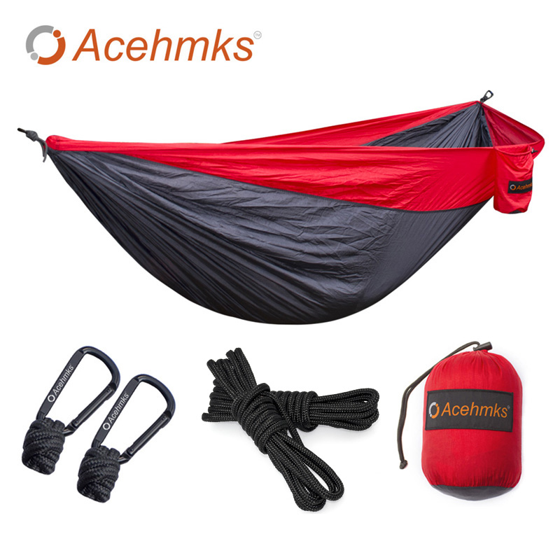 Acehmks Outdoor Hammock With 6 Meters Tree Ropes Nylon Folding Ultralight Portable Hammocks For Travel Campus Leisure 300*200 CM