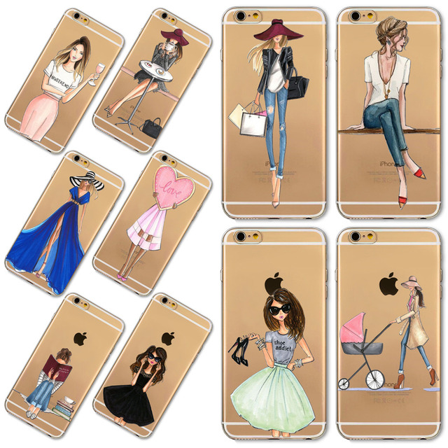 Girl Dress Shopping Fashion Phone Bag For iPhone 7 8 Plus 5 SE 5S 6 6S Plus Transparent Soft TPU Modern Sexy Girls Case Cover