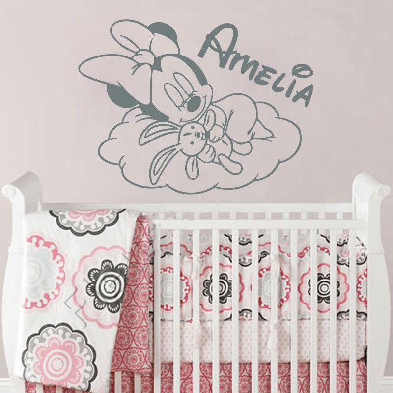 US $6.62 |Benutzerdefinierte Name Wandtattoo Minnie Maus Vinyl  Wandaufkleber Babys Raumdekoration Cute Wolke Kunst Kindergarten Tapete  Wandbild ...