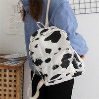 Vintage Milk Cow Printed Backpack Teenagers Girls School Book Bag Ladies Canvas Backpack Female Bag Pack Women Kawaii Mochila