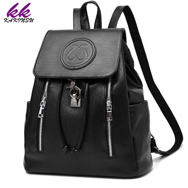edae2a89a4 KAKINSU Fashion Leather Backpack Women Bags Preppy Style Backpack Girls  School Bags Zipper Shoulder Women s Back