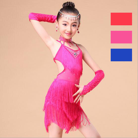Sexy Children Kids Girls Sequin Fringe Tassel Skirt Cha Cha/Rumba/Samba/Latin Tango Ballroom Salsa Dance Dress
