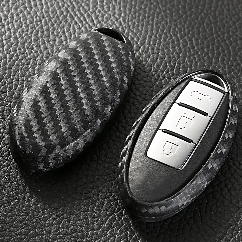 Carbon fiber Car Key Cover Case for Nissan Tidda Livida X Trail T31 T32 Qashqai Teana March Juke For Infiniti EX FX G25 FX35 in Key Case for Car from Automobiles Motorcycles