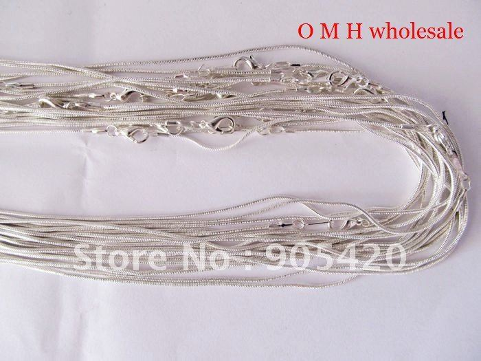 OMH Free ship 1pcs jewelry wholesale silver Nickel plating Chains Man women necklace 46cm Snake Chains Necklaces