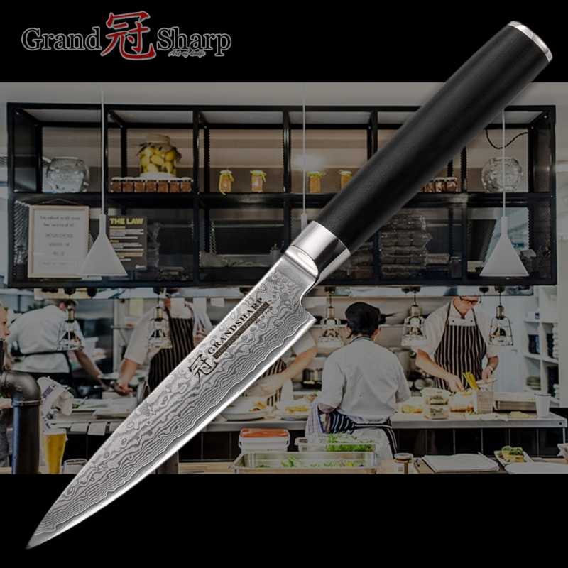 Grandsharp 5 Inch Utility Damascus Knife 67 Layers Japanese Damascus Stainless Steel VG10 Cooking Tools Damascus