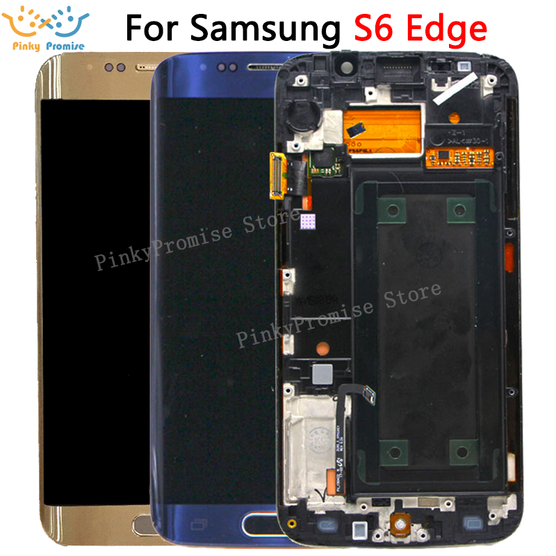 100% Tested 5.1'' SUPER AMOLED Display For SAMSUNG Galaxy S6 Edge LCD G925 G925I G925F Touch Screen Digitizer With Frame