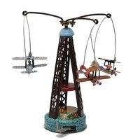 Vento clássico Até Brinquedos Girando Avião Aeronave Carousel Clockwork Tin Toy Boneca Coleção Modelo Presente Crianças Kid Favorita
