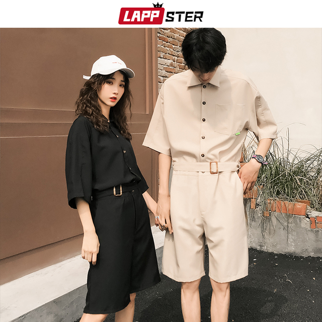 LAPPSTER Jumpsuit Men Harajuku Belt 2020 Summer Couple Women Jumpsuit Plus Size Black Cargo Overalls Pants Korean Style Fashion 51