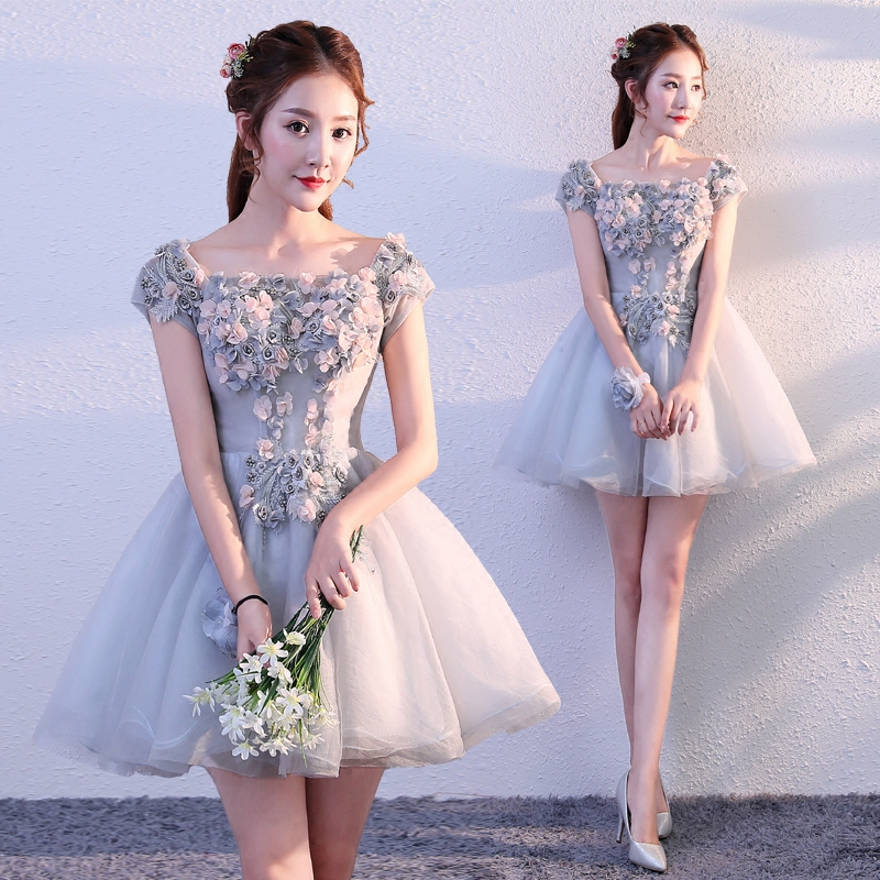 New grey 85cm short sweat lady girl women princess bridesmaid banquet party ball dress gown