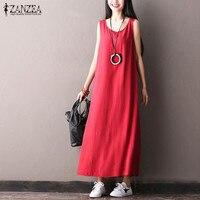 ZANZEA 2017 Summer Fashion Women Casual Solid Maxi Long Dress Female Loose Sleeveless O Neck Dresses