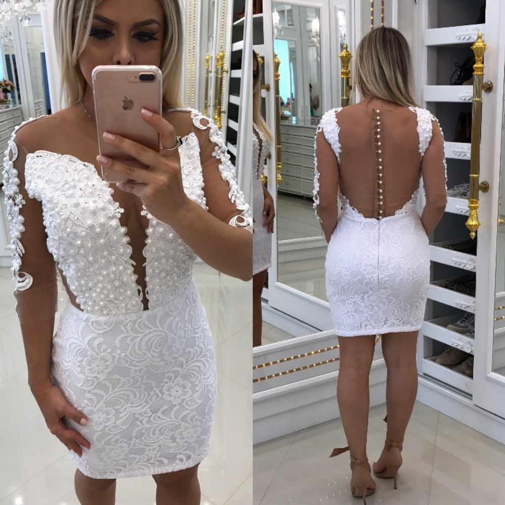 White 2019 Elegant Cocktail Dresses Sheath 3/4 Sleeves Lace Pearls See Through Elegant Short Homecoming Dresses