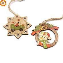 10PCS Christmas Wooden Pendants Santa Claus&Snowman Ornaments DIY Party Decorations Xmas Tree Kids Gifts