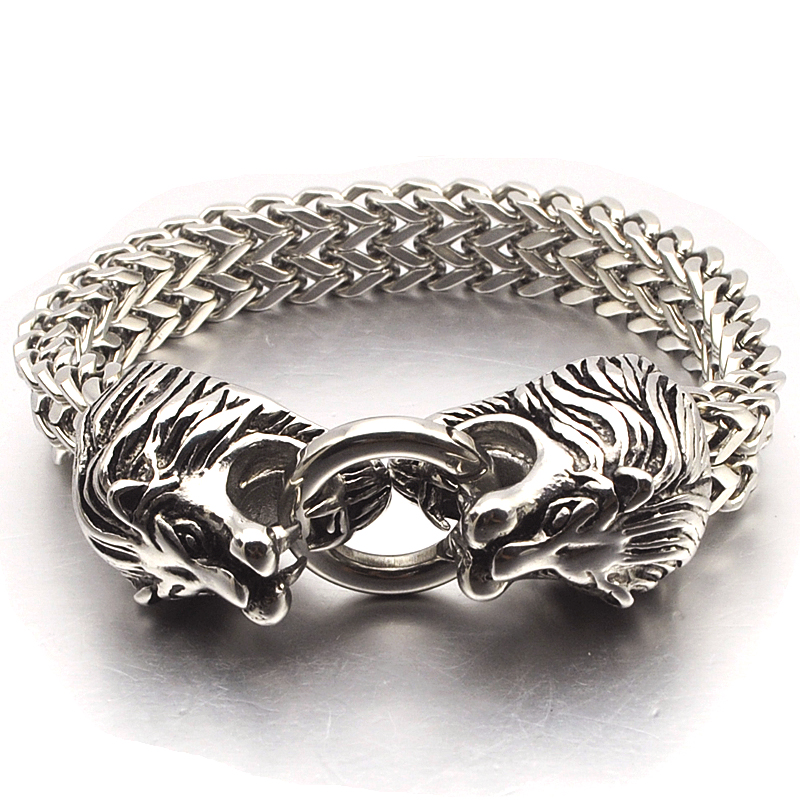 NIENDO Hot Selling Fashion Silver Color Double Lion Head Animal Stainless Steel Bracelet Men Jewelry Birthday Present DB973 stainless steel double head crowbar for cell phone silver