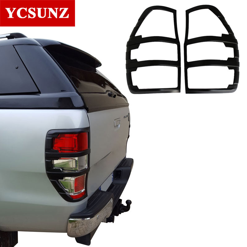 ABS Matte Black Tail Light Covers Trim For FORD RANGER 2012- 2019 T6 T7 T8 Wildtrak