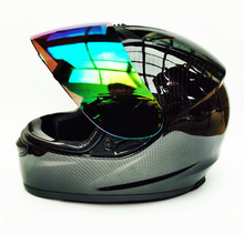 carbon fiber Motorcycle Modular Full Face Helmet color Visor Sun Shield Matt Black; Size L (22.4-22.8 Inch)