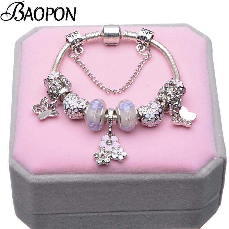 BAOPON European Style Vintage Silver Plated Crystal Charm Bracelet Women Fit Original DIY Fine Bracelet Jewelry Gift