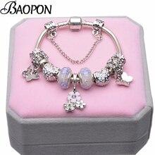 BAOPON, европейский стиль, винтажный посеребренный браслет с кристаллами, женский, подходит для оригинала, сделай сам, прекрасный браслет, ювелирное изделие, подарок